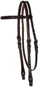 """5/8"""" Floral Tooled Browband Headstall"""