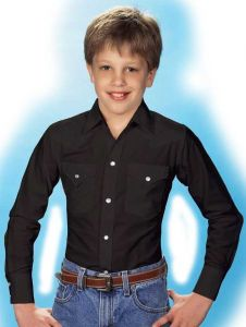 Boy's Long Sleeve Solid Pearl Snap Shirt by Ely Cattleman