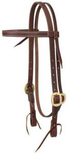 """Working Cowboy Economy Browband Headstall, 3/4"""", Solid Brass"""