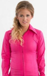 Zip Up Fitted Show Shirt - Hot Pink