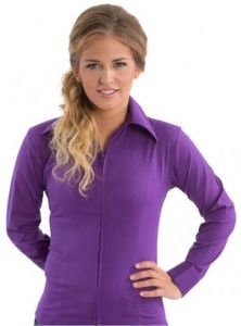 Zip Up Fitted Show Shirt - Purple